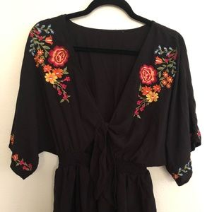 Black Romper with floral embroidery